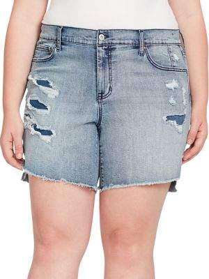 74f976ba8a Jessica Simpson Plus Mika Best Friend Distressed Denim Shorts