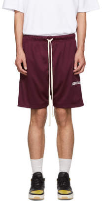 Essentials Burgundy Mesh Logo Shorts