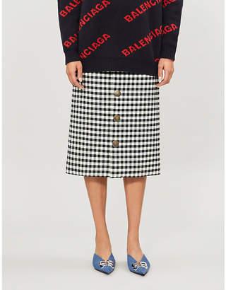 Balenciaga Checked woven midi skirt