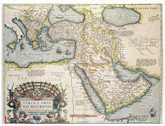 """Abraham Ortelius 'Map of the Middle East 1570' Canvas Art - 32"""" x 24"""""""