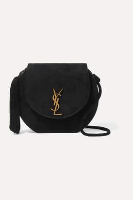 Saint Laurent Demie Lune Tasseled Suede Shoulder Bag - Black
