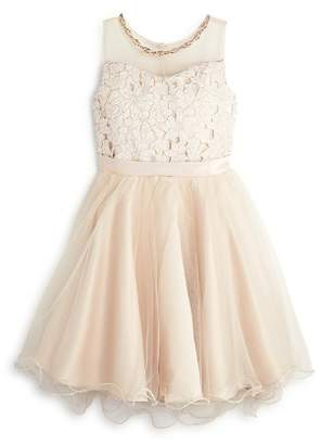 Us Angels Girls' Lace & Tulle Illusion-Top Dress - Big Kid