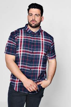 boohoo Big And Tall Multi Check Short Sleeve Shirt