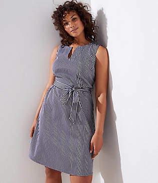 LOFT Plus Striped Split Neck Tie Waist Dress