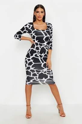 boohoo Geo Giraffe Deep Plunge Scoop Neck Bodycon Dress