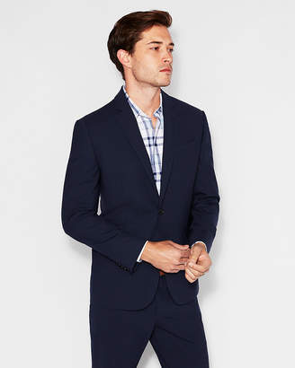 Express Slim Navy Wool-Blend Stretch Tough Travel Suit Jacket