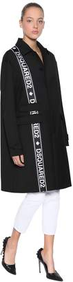 DSQUARED2 Oversize Logo Bands Wool Blend Cady Coat