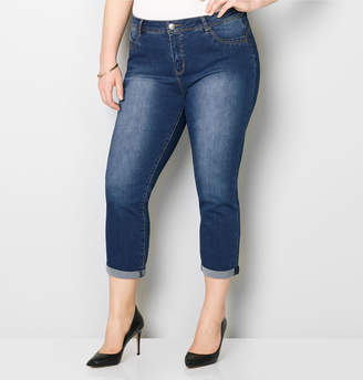 Avenue Body Sculpting Cuffed Crop Jean in Med Wash