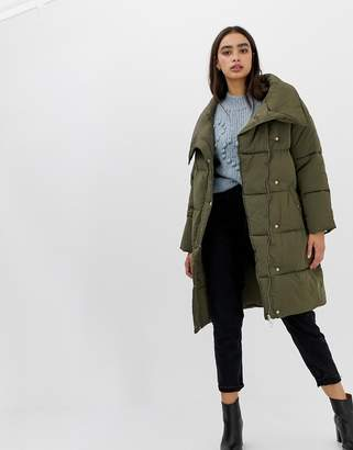 Miss Selfridge longline padded coat in khaki