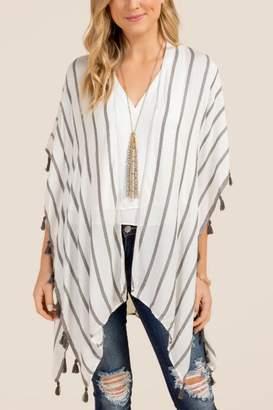 francesca's Catalina White Striped Ruana - Gray