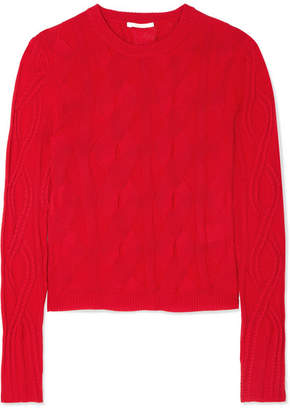 Chloé Cable-knit Wool And Silk-blend Sweater - Red