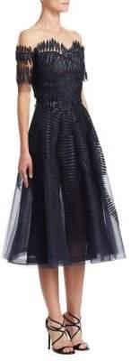 Oscar de la Renta Off-The-Shoulder Illusion Silk Dress