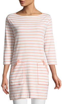 Joan Vass Striped Cotton Interlock 2-Pocket Tunic, Petite