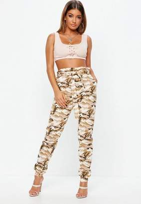 Missguided Tall Khaki High Waisted Camo Cargo Pants