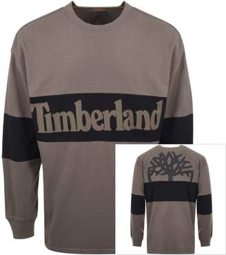 Timberland Long Sleeved Logo T Shirt Khaki