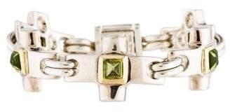 Robert Lee Morris Two-Tone Peridot Cross Bracelet