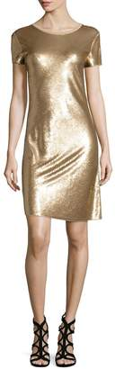 MICHAEL Michael Kors Short-Sleeve Diagonal Sequined Dress