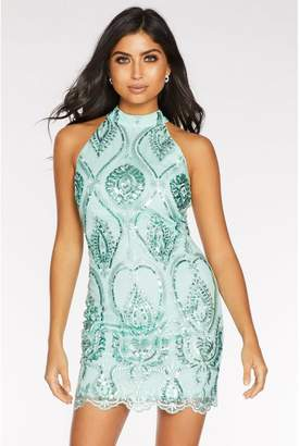 Quiz Mint Embellished High Neck Bodycon Dress