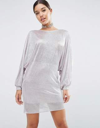 Asos Metallic Oversized Caftan Mini Dress