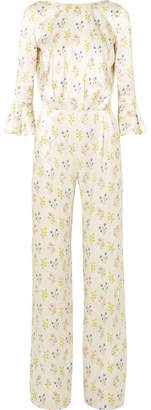 Seren - Gee Open-back Floral-print Silk-satin Jumpsuit - White