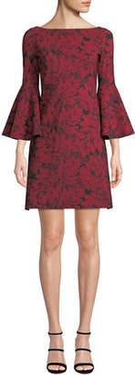 Chiara Boni Natalia Bell-Sleeve Floral-Print Dress