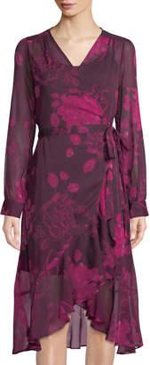 Nanette Lepore Nanette Floral-Print Crinkle Chiffon Midi Wrap Dress