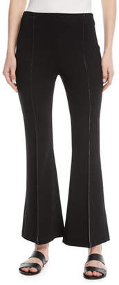 Rosetta Getty Flat-Front Flared-Leg Cropped Pants w/ Contrast Topstitching
