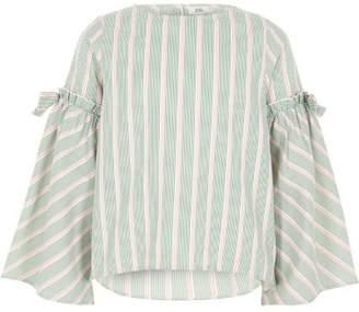 River Island Girls green stripe bow bell sleeve top