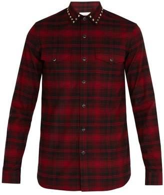 Valentino Rockstud Collar Plaid Shirt - Mens - Red Multi