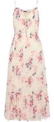 Love Sam Smocked Floral-Print Georgette Midi Dress