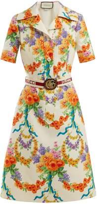 Gucci Floral-print wool-blend dress