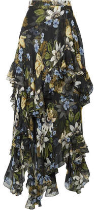 Erdem Elsa Asymmetric Ruffled Floral-print Silk-chiffon Midi Skirt - Black