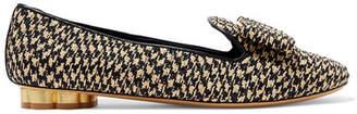 Salvatore Ferragamo Sarno Bow-detailed Woven Straw Loafers - Black