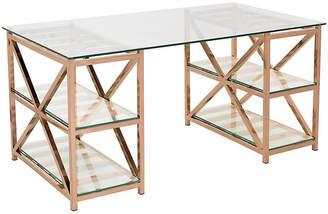 """One Kings Lane Nelson 63"""" Glass Desk - Rose Gold"""