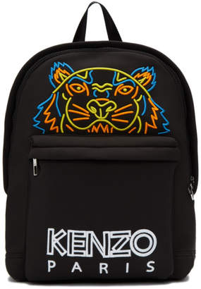Kenzo Black Large Neoprene Tiger Backpack