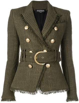 Balmain belted slim-fit blazer