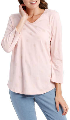 Essential V-Neck 3/4 Sleeve Tee-Pink Stripe Spot Foil Print
