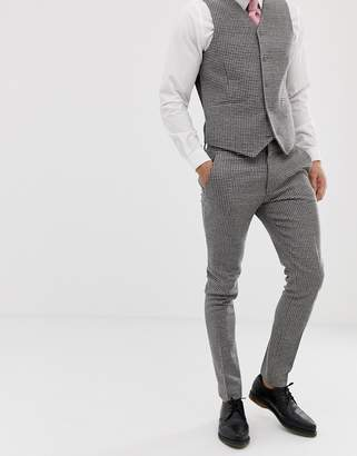 Asos DESIGN wedding super skinny suit pants in gray houndstooth