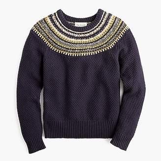 J.Crew The Reeds X crewneck sweater in sparkly Fair Isle