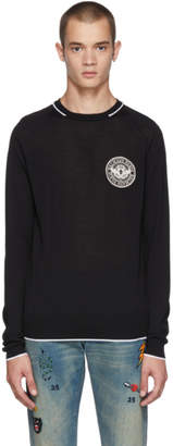 Balmain Black Wool Badge Sweater