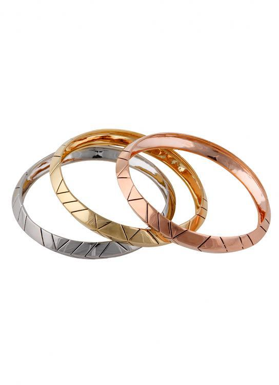 Gold Plated Thick Stack Bangles in Gold, Rose Gold and Palladium - by House of Harlow 1960