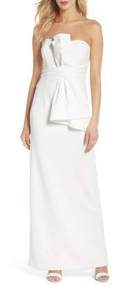 Adrianna Papell Strapless Bow Column Gown