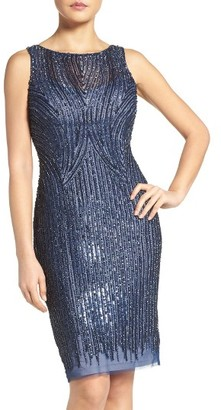 Women's Adrianna Papell Embellished Mesh Sheath Dress $249 thestylecure.com