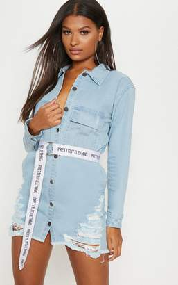 PrettyLittleThing Light Wash Super Distress Denim Shirt Dress