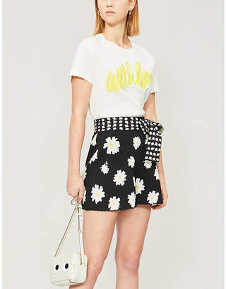 Maje Isseca daisy print stretch-knit shorts