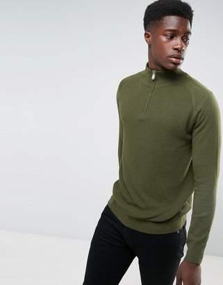 ThreadbareTextured Front Half Zip Knit Sweater