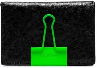 Off-White black binder clip leather wallet