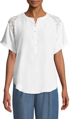 Bobeau Carey Lace-Shoulder Short-Sleeve Blouse