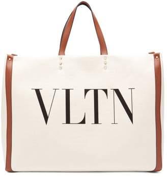 Valentino Vltn Canvas Tote Bag - Womens - Tan
