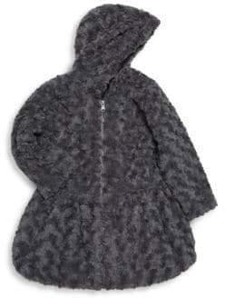 Little Girl's Zippered Faux Fur Coat